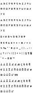 electroharmonix フォント対応表